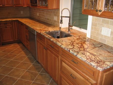 Engineered Surfaces, LLC   Marble Rainforest Brown Kitchen .