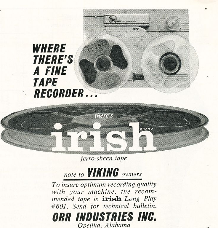 1959 Irish reel to reel recording tape featuring the Viking reel to reel  tape recorder in Phantom Productions vintage recording collection