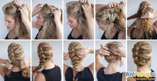 Прическа на длинные волосы в домашних условиях. Плетение ...