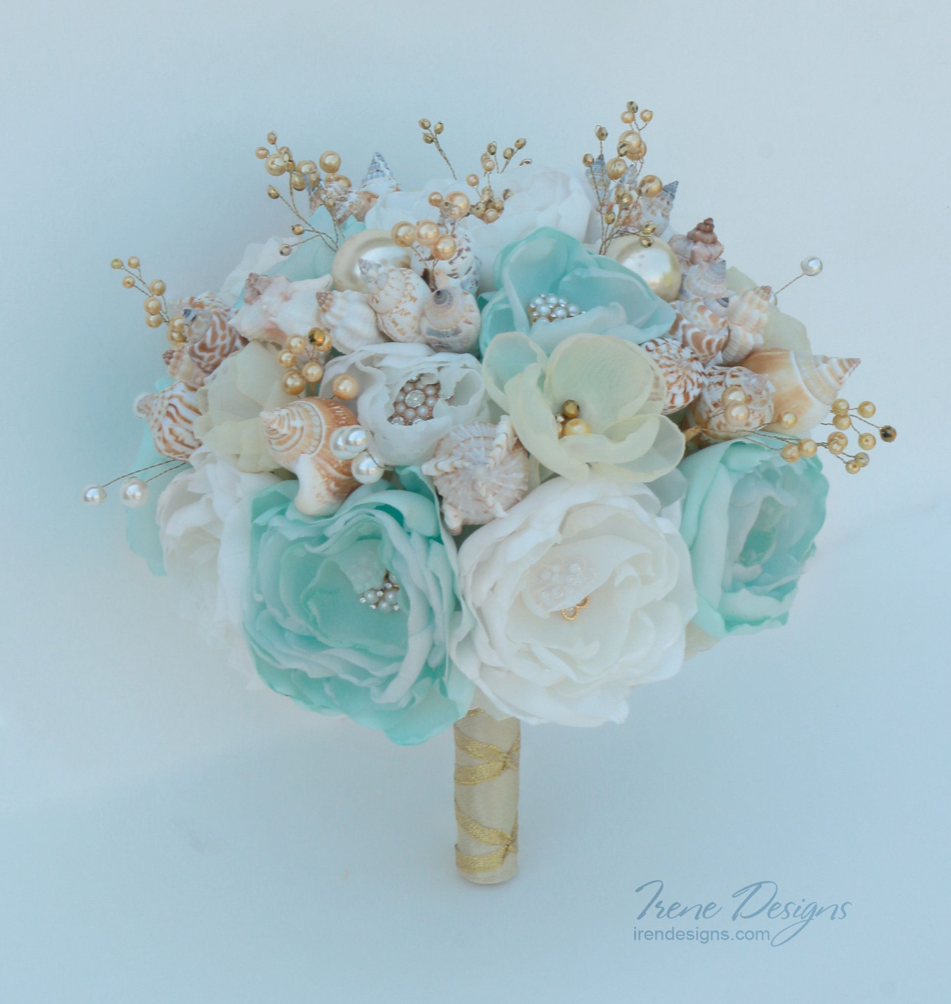 Seashells Bouquet. Light Mint-turquoise And Gold Wedding