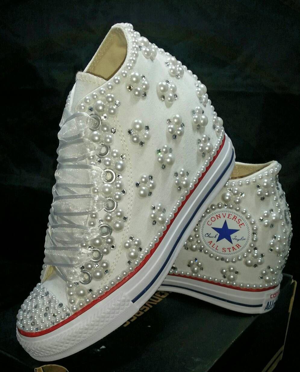 cf030ed5af4d Off Brand Wedge Wedding Sneakers- Bridal Sneakers- Bling   Pearls ...