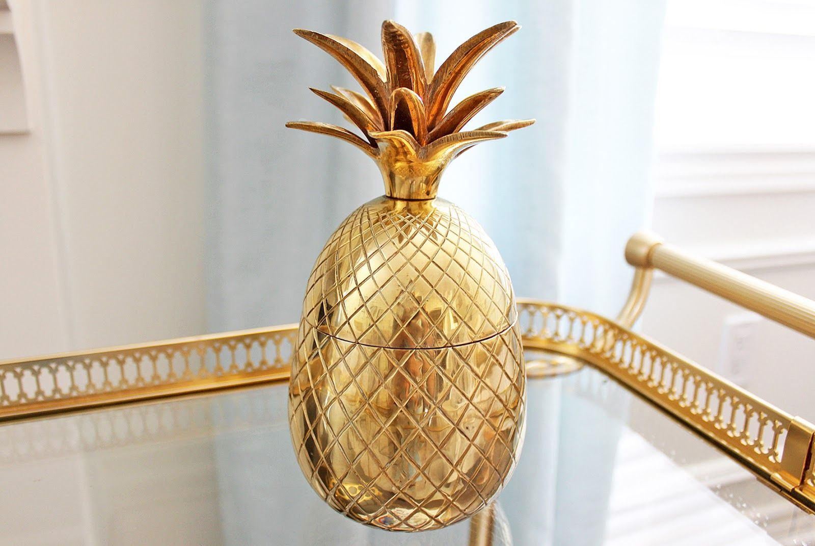 TwoMoxie on Etsy, Brass pineapple ice bucket, Hollywood Regency Brass pineapple decor