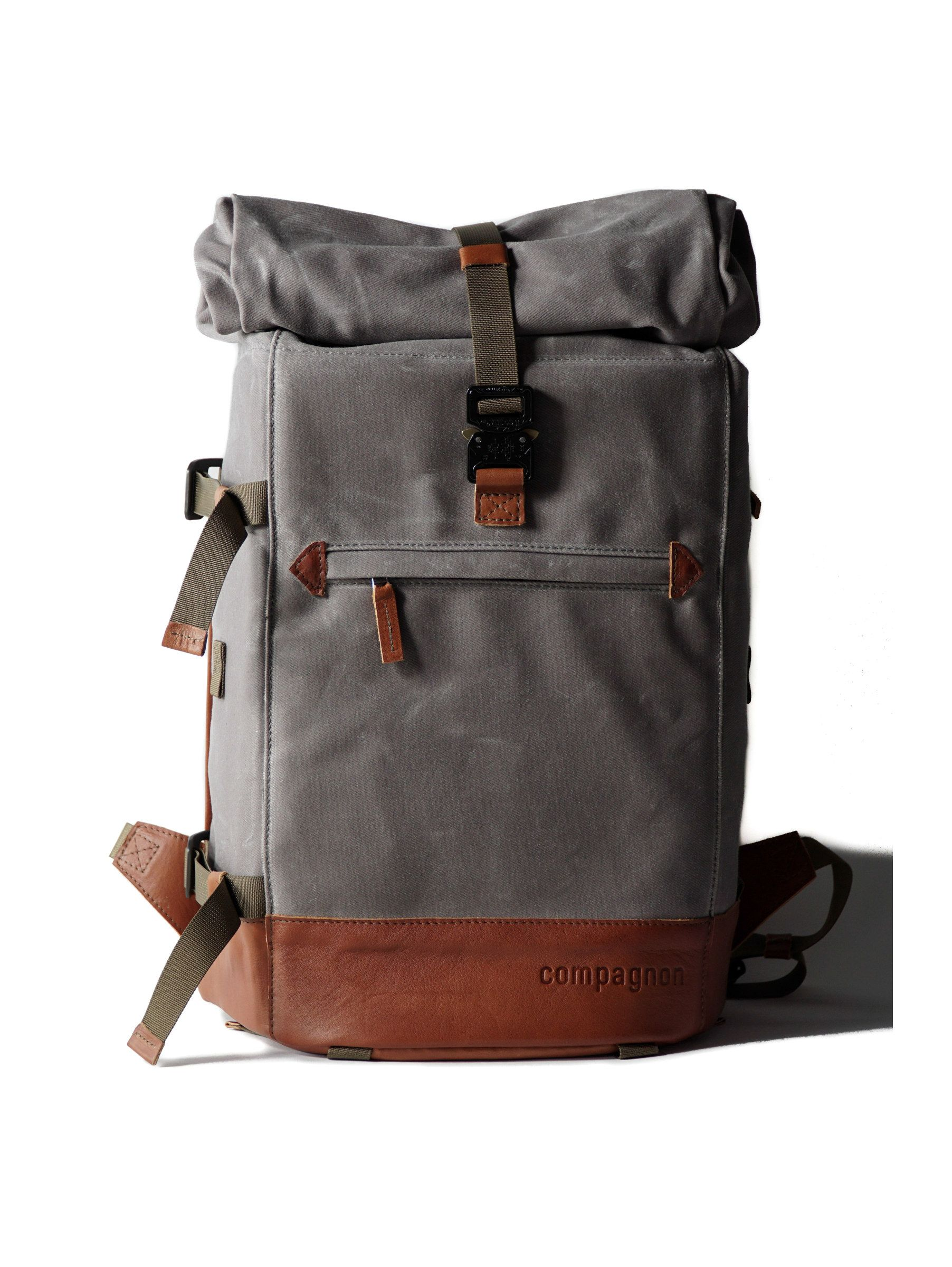compagnon photo camera backpack urban grey canvas   leather
