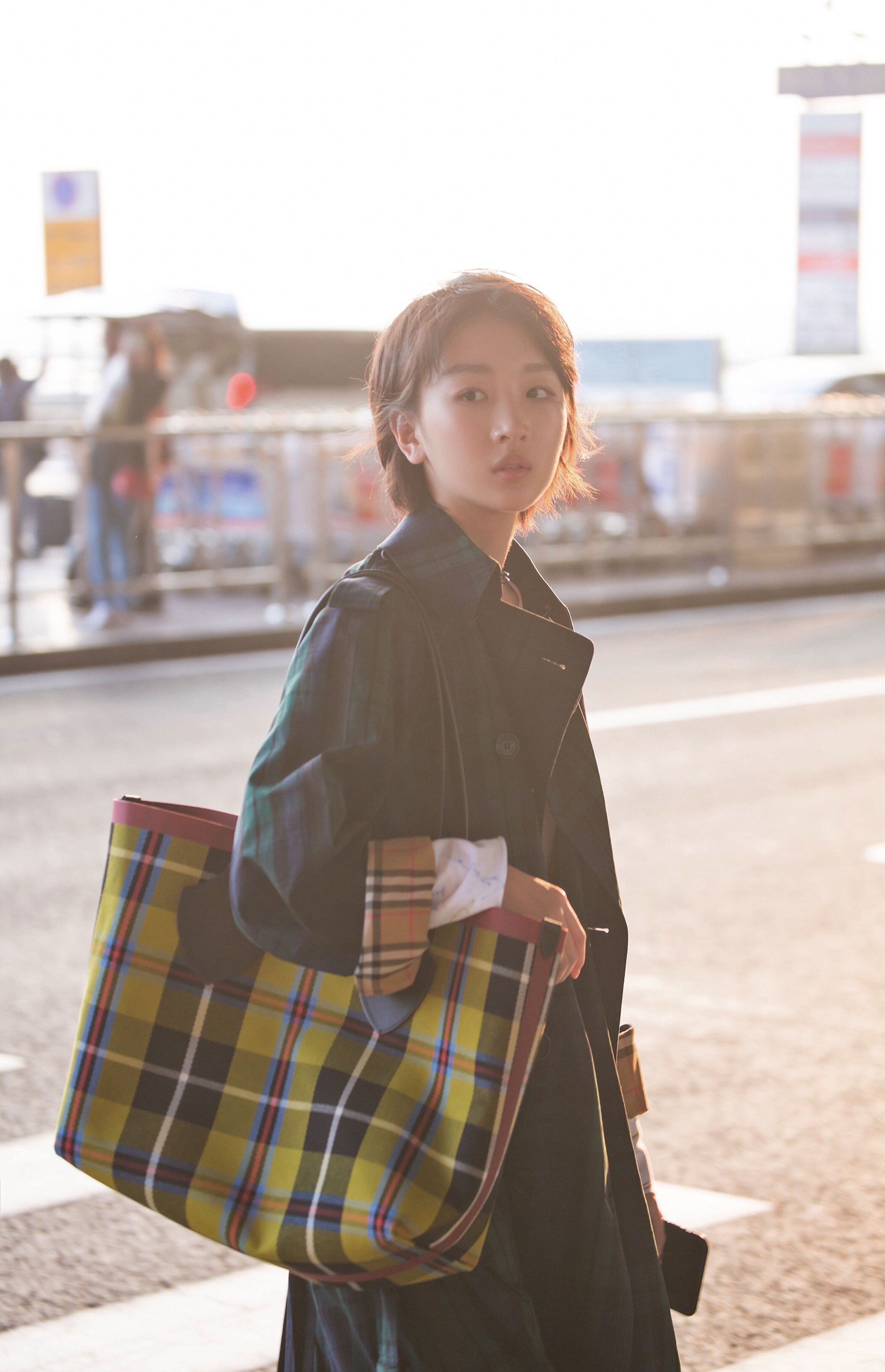 b1b4ae9edf4f8 Zhou Dongyu at Beijing Capital International Airport wearing  Burberry  pieces with The Giant reversible tote