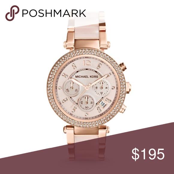 LAST CHANCE MK Parker Rose Gold Blush Watch NWT Gold