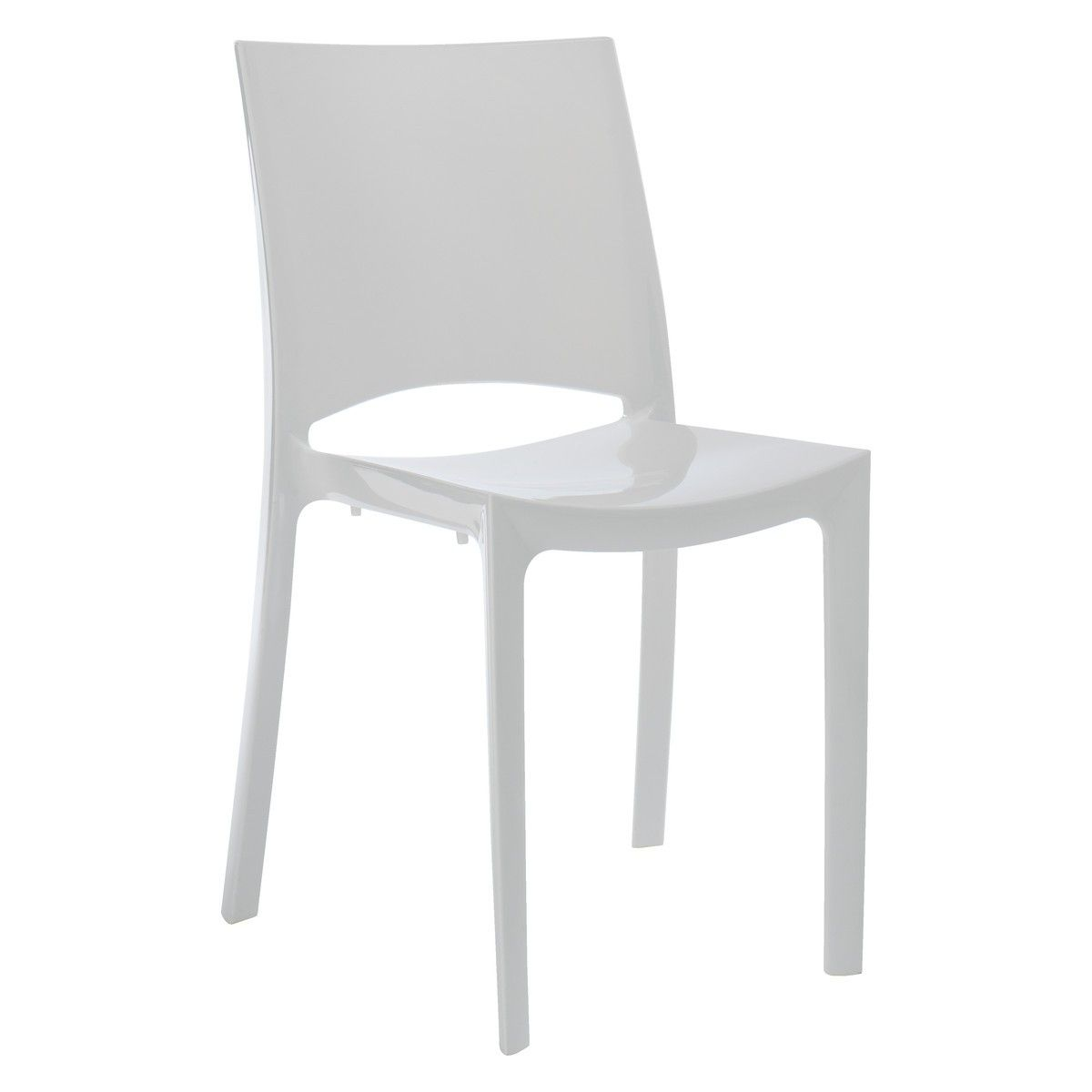 Verne white plastic stackable dining chair buy now at for Stackable dining room chairs