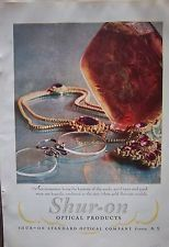 1927 Vintage SHUR ON Optical Eyeglasses showing Jewelry Color ad