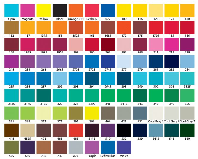 Atac Sportswear Color Chart  Bring It Home    Pantone