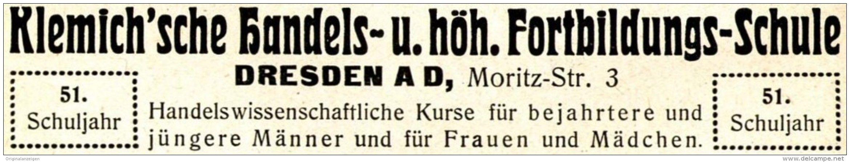 Original-Werbung/ Anzeige 1915 - KLEMICH'SCHE HANDELS-SCHULE - DRESDEN - ca. 115 x 20 mm