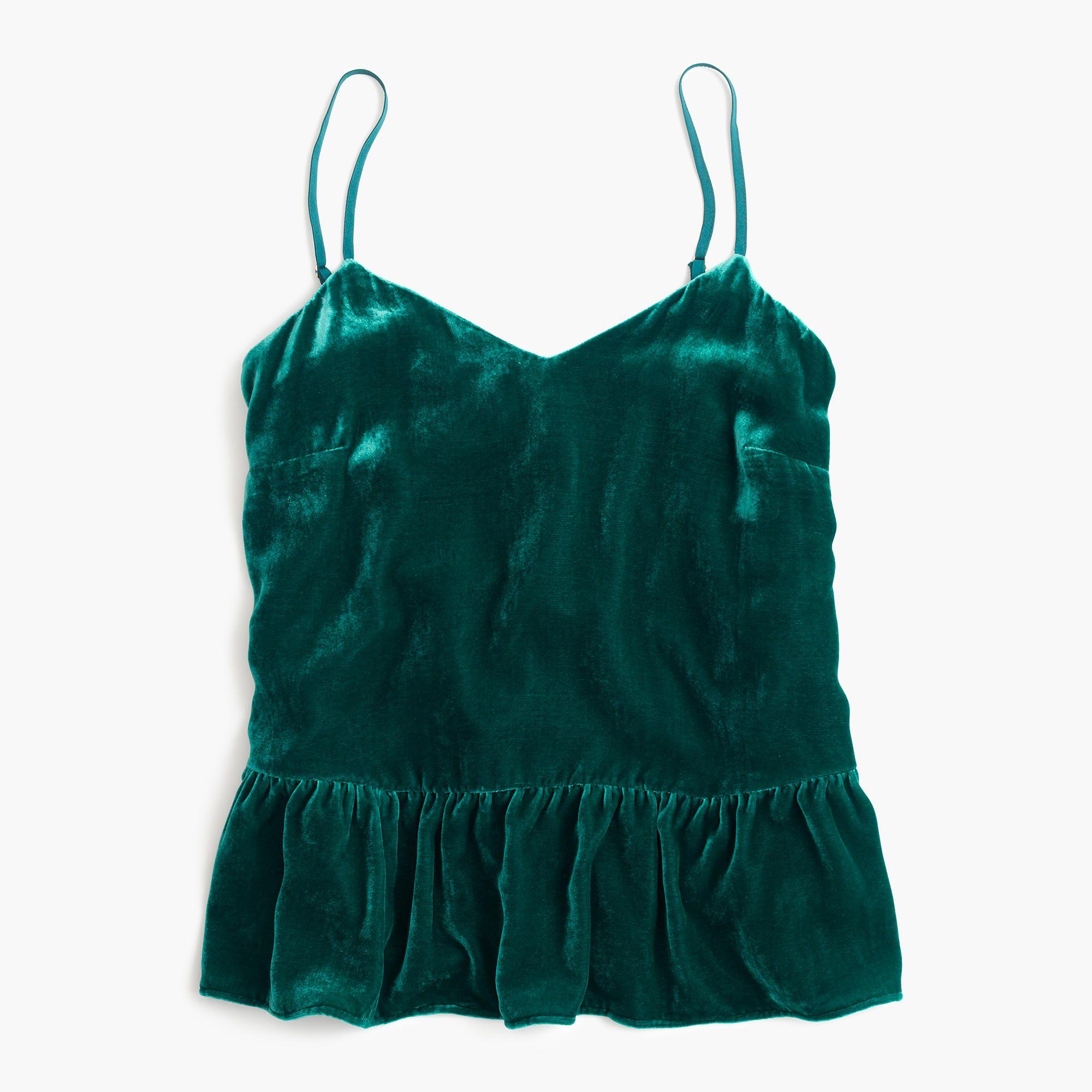 Dark green dress shirt  Velvet cami drop waist ruffle deep jade green velvet   JCrew