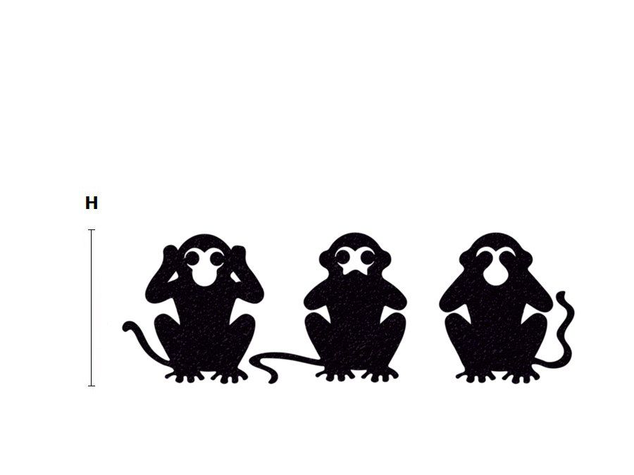 3 Monkeys Velvet Stickers - Three Wise Monkeys Wall Decal - See No ...