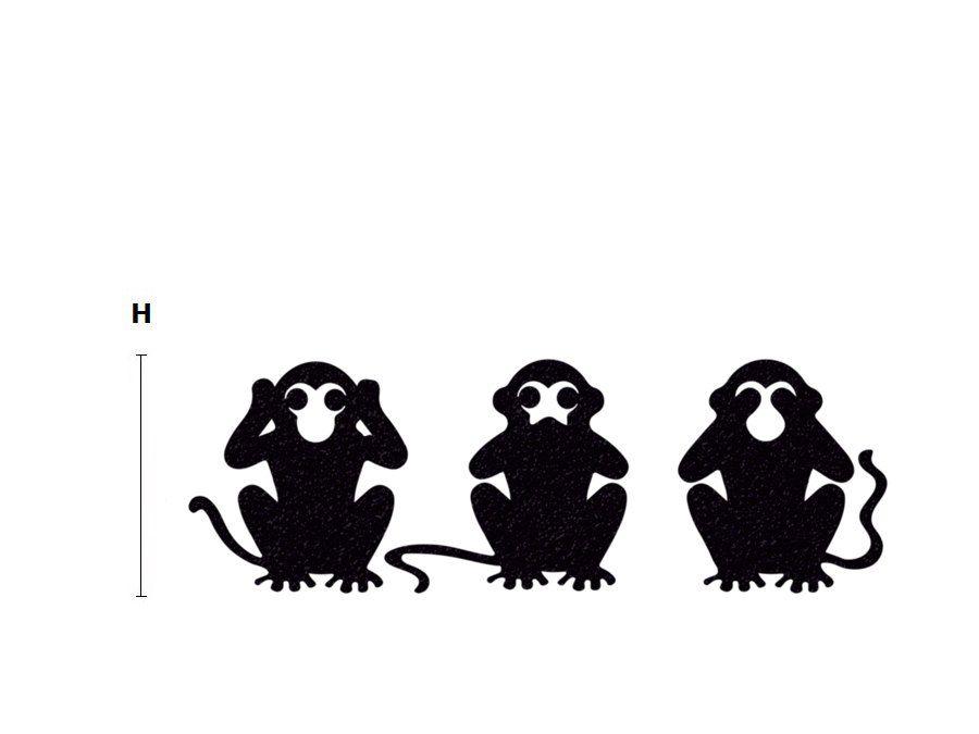 3 affen samt aufkleber drei affen wand aufkleber von mirshkastudio three wise monkeys. Black Bedroom Furniture Sets. Home Design Ideas