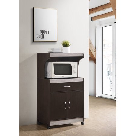 hodedah microwave kitchen cart chocolate grey walmart com microwave cart small kitchen on kitchen organization microwave id=45634