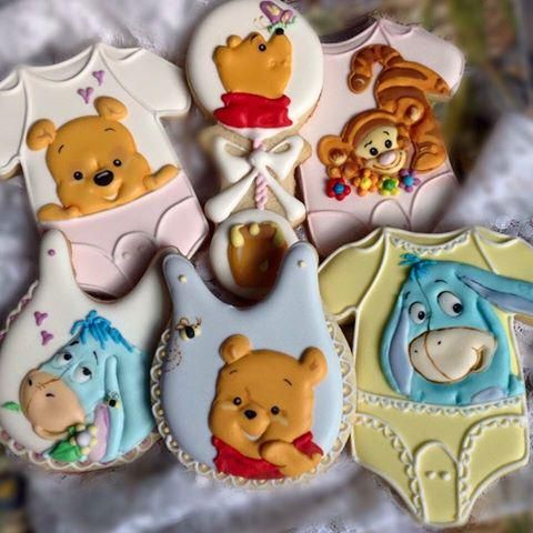 df426c024 Winnie the Pooh, Eeyore, and Tigger decorated onesie and bib cookies for  baby shower.