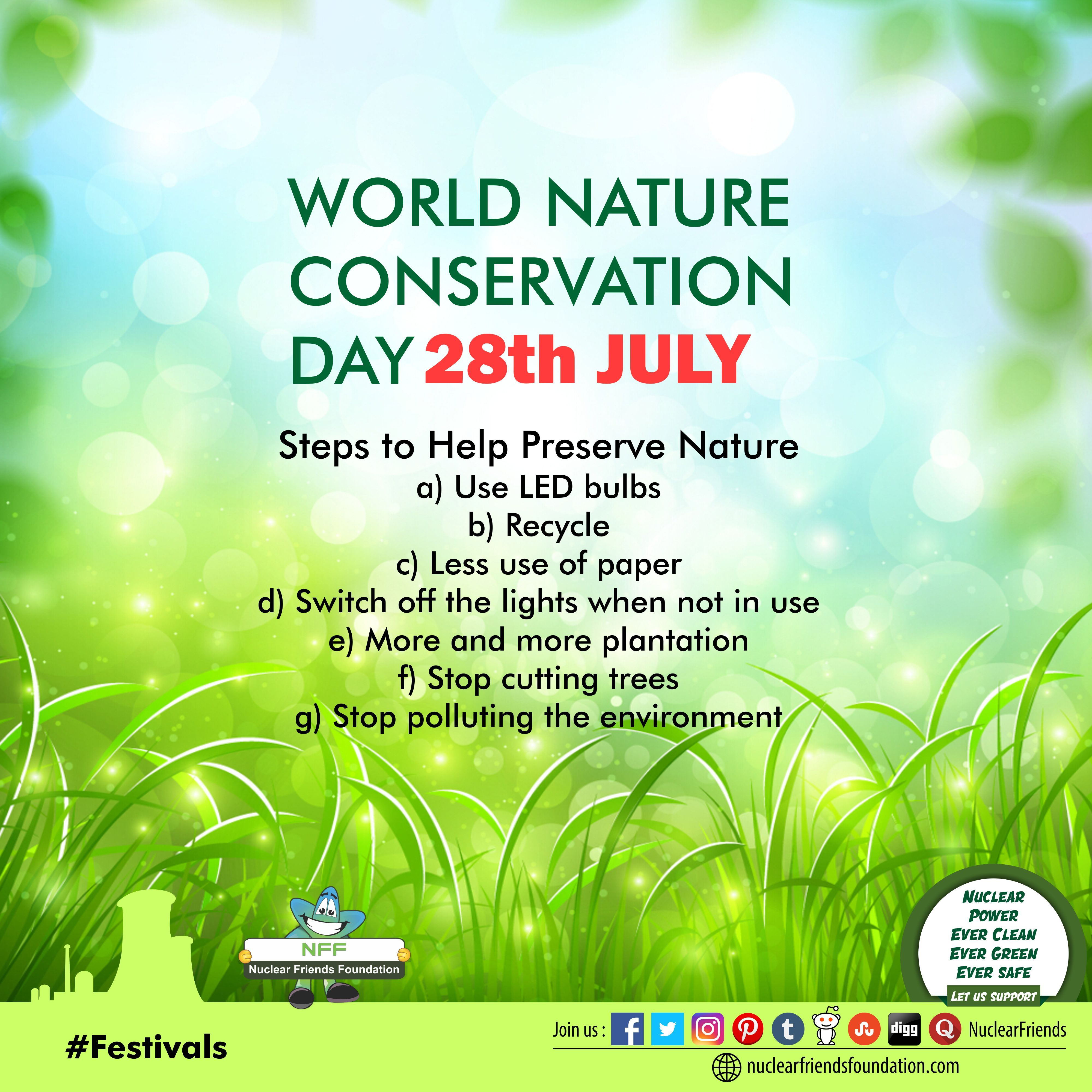 World Nature Conservation Day Steps To Help Preserve Nature Reach Us Www Nuclearfriendsfoundation Com Worldna Nature Conservation Conservation Nature