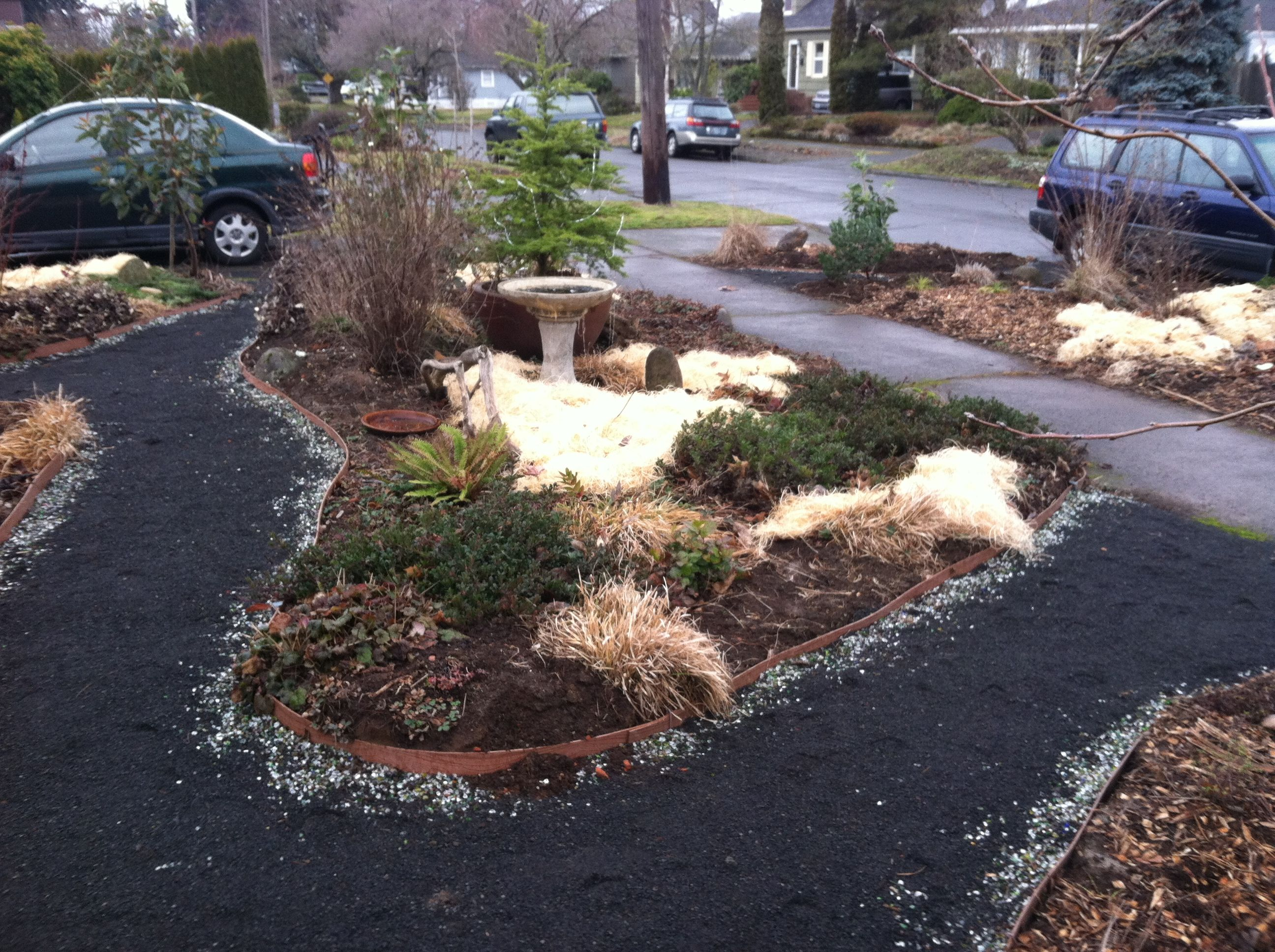 Tumbled Glass Lining Of Quarter Minus Gravel Pathway Gravel Pathway Plants Pathways