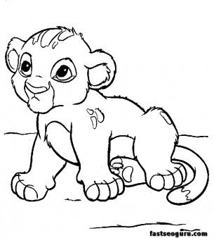 Free Coloring Sheets Kids on Coloring Pages Young Simba Cartoon