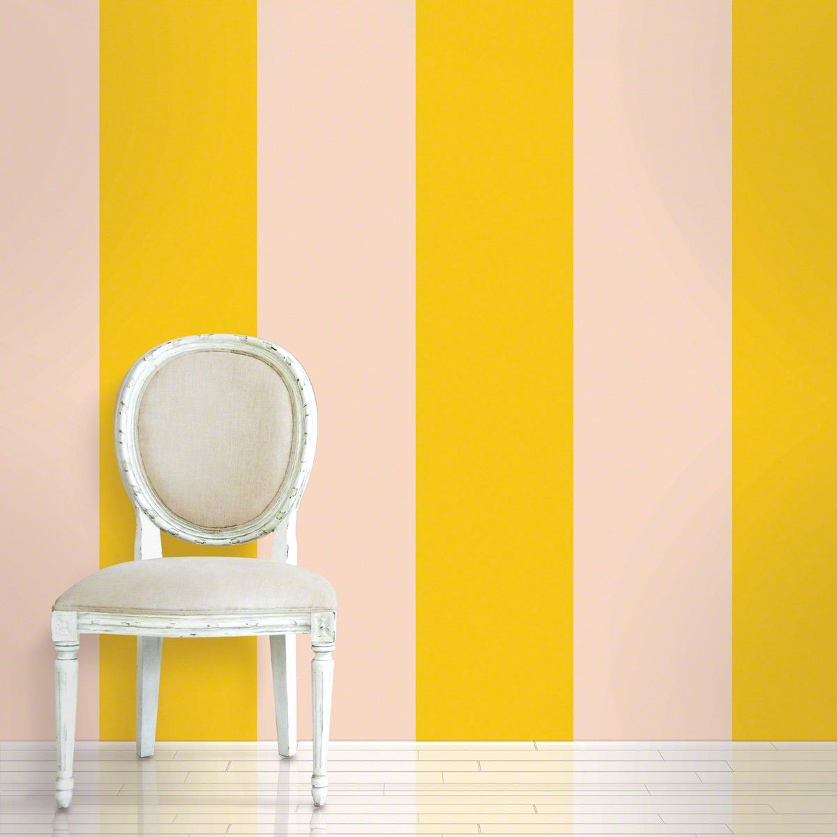 Yellow striped temporary wallpaper, could be nice as an accent wall ...