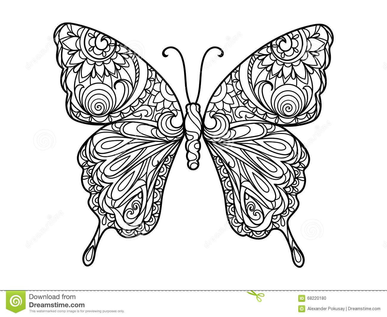 Zentangle color butterfly images for Coloring pages of butterflies for adults