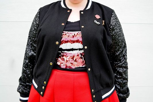 Styling a Sequin Varsity Jacket: featuring the Sequin Sleeve Bomber Jacket from Ashley Nell Tipton's collection (sizes 0x-5x) for JCPenney's Boutique+!