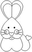 Printable Cut and Paste Rabbit with Hearts for Valentines