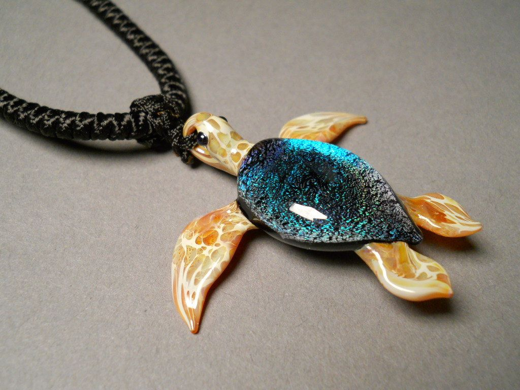 Glass hand made sea turtle pendant necklace focal by glassnfire glass hand made sea turtle pendant necklace focal by glassnfire mozeypictures Images