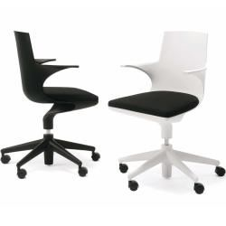 Photo of Sillón de oficina Kartell Spoon Chair, estructura blanca, cojín negro KartellKartell