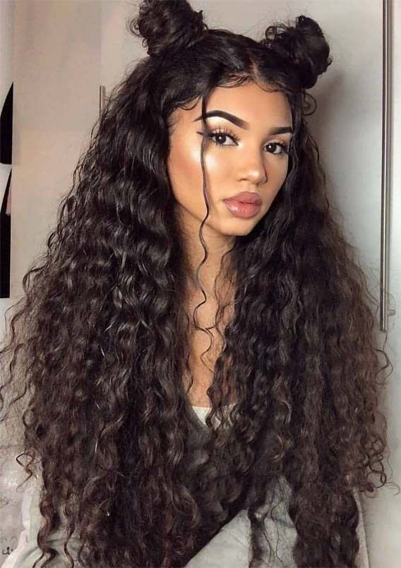 Cutest Long Curly Hairstyles With Top Knots In 2019 Long Hair Styles Hair Styles Curly Hair Styles