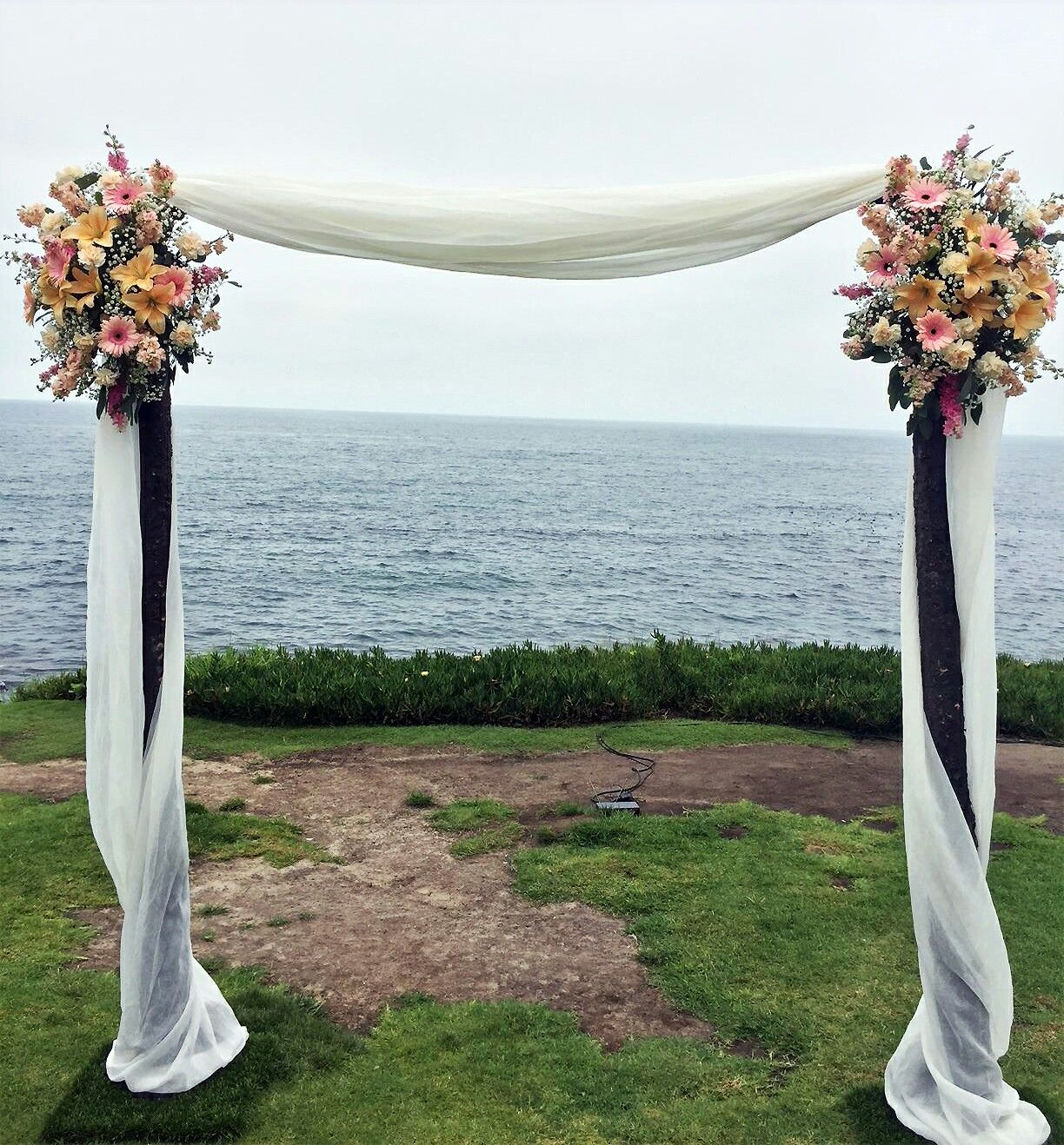 Traditional Wedding Arch Pastel Color Flowers Light Pink