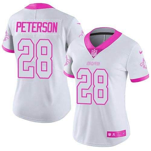Nike Saints  28 Adrian Peterson White Pink Women s Stitched NFL Limited Rush  Fashion Jersey af1f51f2a