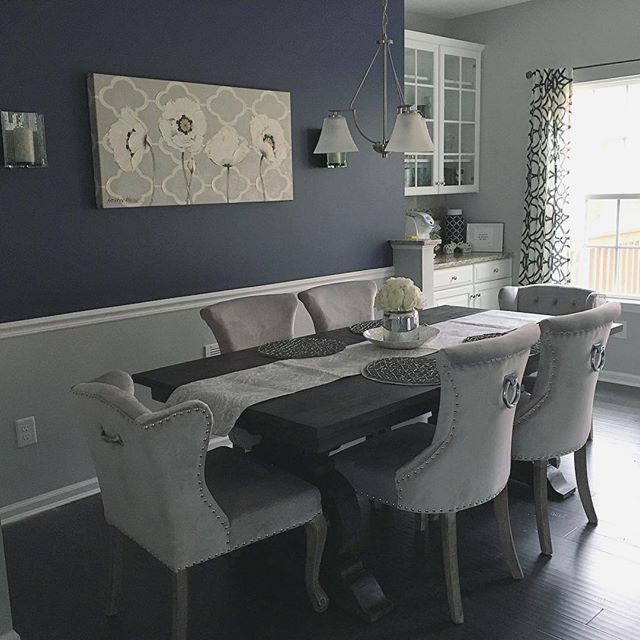 Obsessed With Our New Dining Set☺ Table Is From Mealeys Furniture! Chairs  Are From @homegoods!!