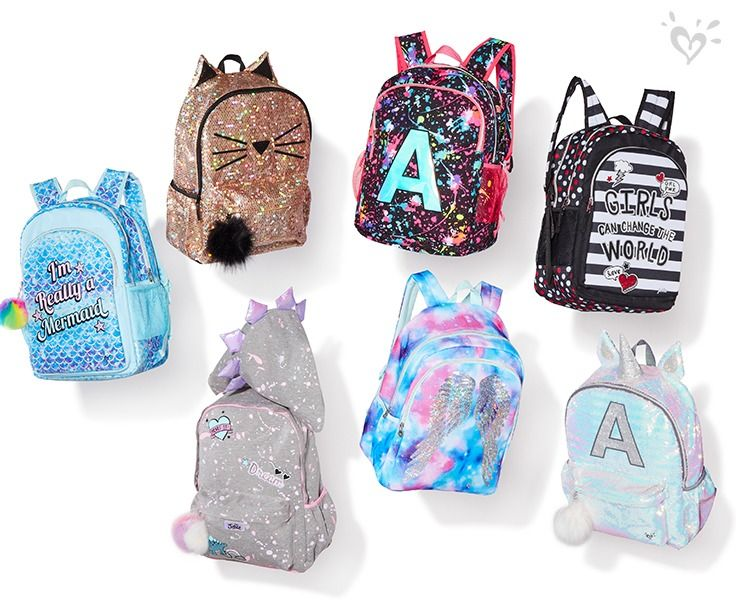 Prints And Details You Ll Only Find At Justice Think Shimmer Pom Poms And Reversible Straps Justice Backpacks Cute Backpacks Cute Outfits For Kids
