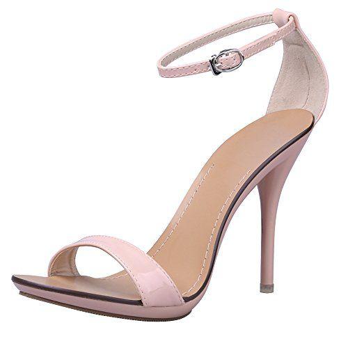 36dd1eb6410 OCHENTA Women s Classic Dancing Stiletto High Heel Open Toe Ankle Strap  Sandals Nude pink Size US