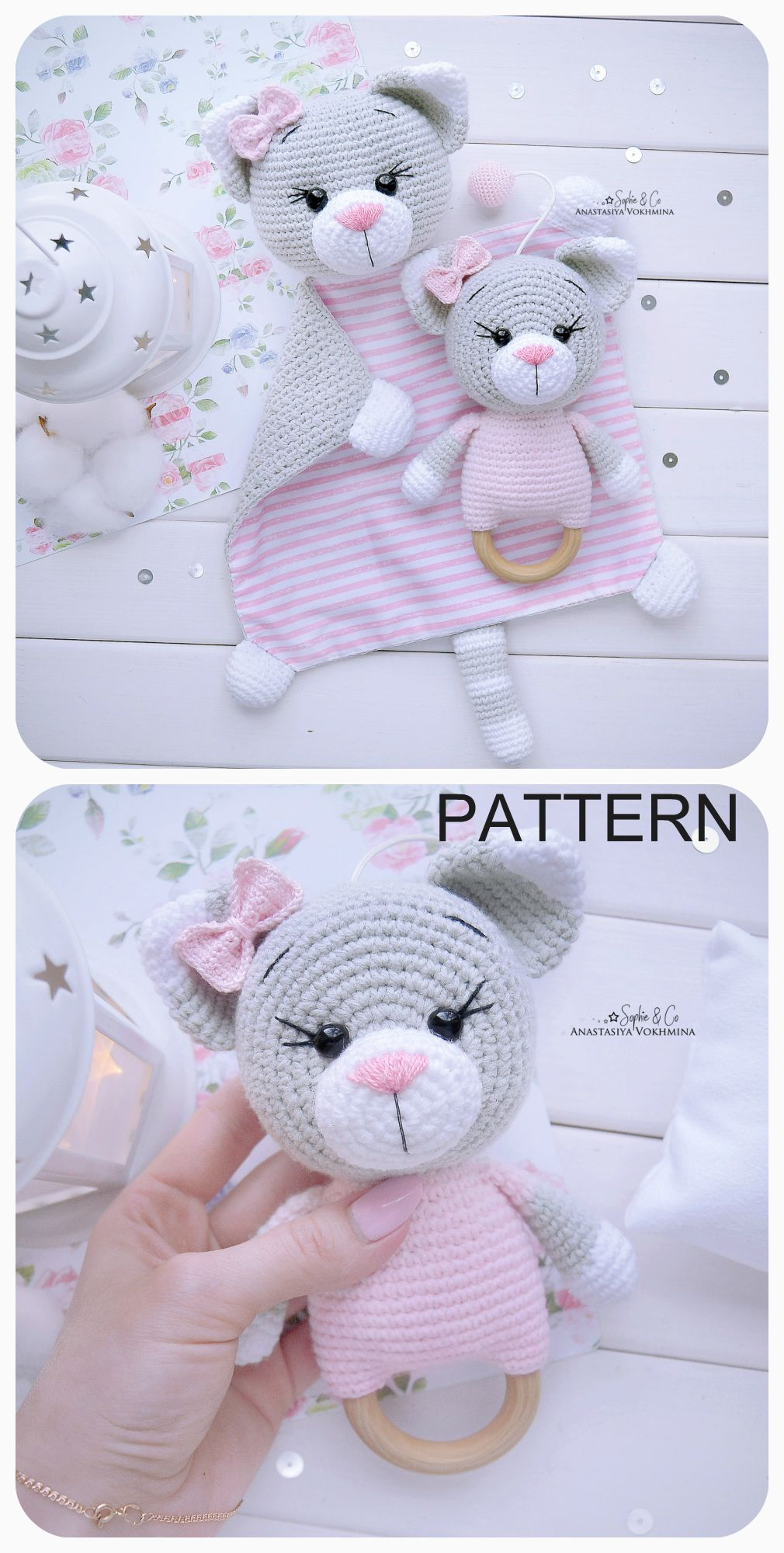 Photo of PATTERN Cats – Cotton Comforter and Teething Toy | Lovey Pattern | Baby Rattle | Baby Lovey Toy | Crochet pattern