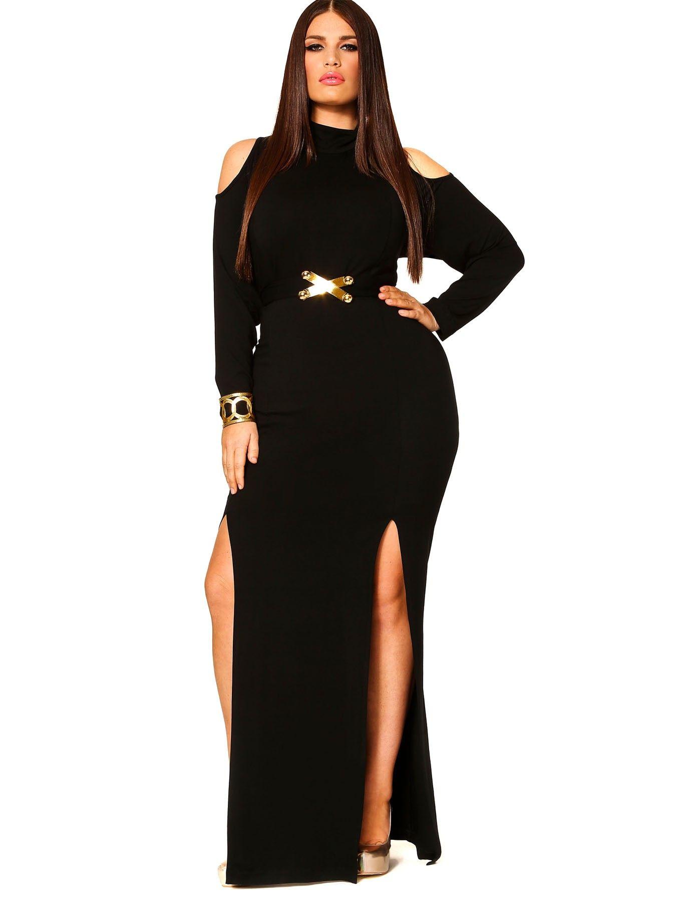 """Monif-""""EVA"""" COLD SHOULDER DOUBLE SLIT DRESS WITH DETACHABLE BELT - BLACK"""