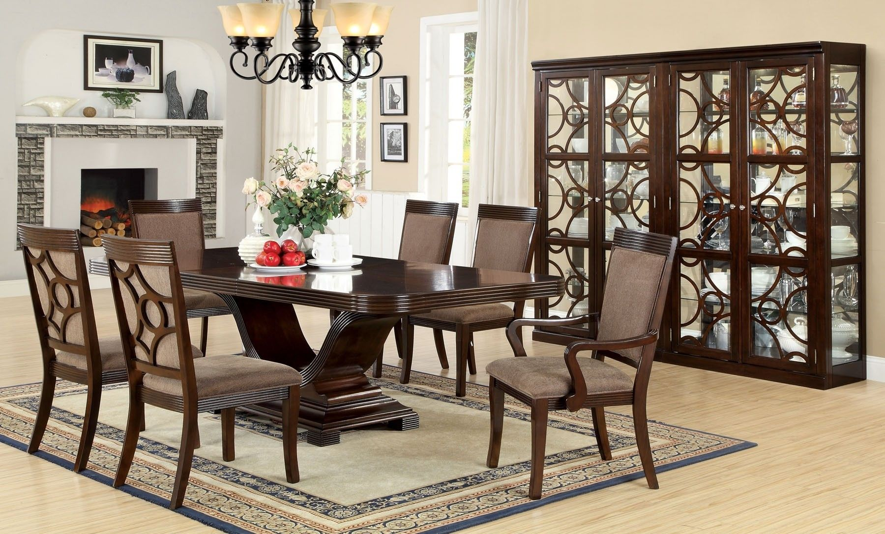 Furniture of America Woodmont Dining Room Set in Walnut in 9 ...