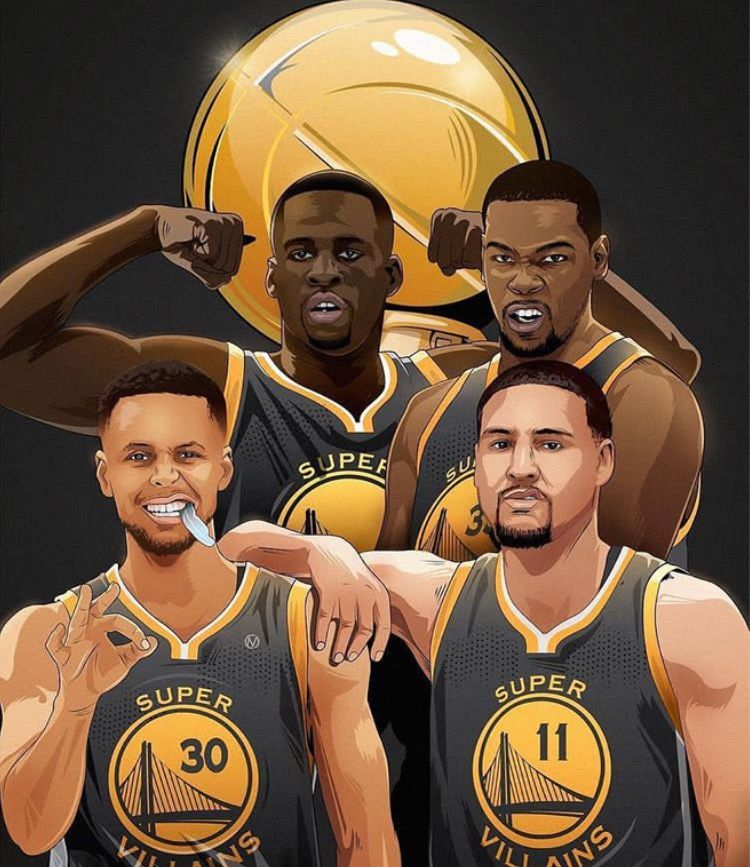 Draymond Green, Kevin Durant, Stephen Curry and Klay