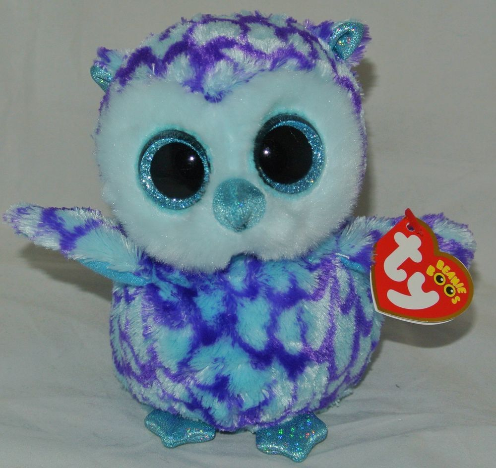 42ff39d7e29 New! 2015 TY Beanie Boos Blue   Purple Owl OSCAR 6