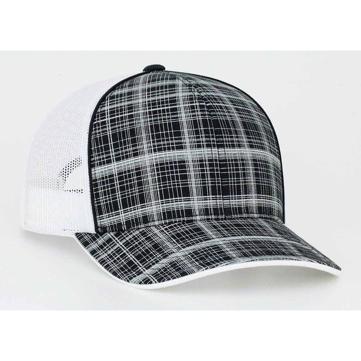 Pacific Headwear Black White Crosshatch Snapback Trucker Mesh Cap ... b7374b2ba187