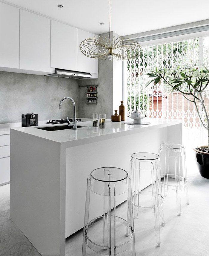 Small Modern White Kitchen asian lifestyle building shophouse modern white kitchen | kitchen