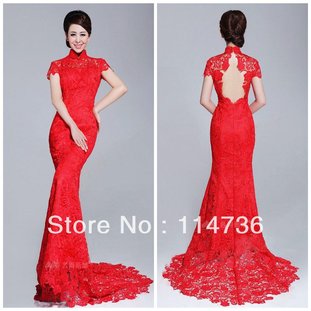 Best sellng high collar mermaid brush lace cap sleeves red open back