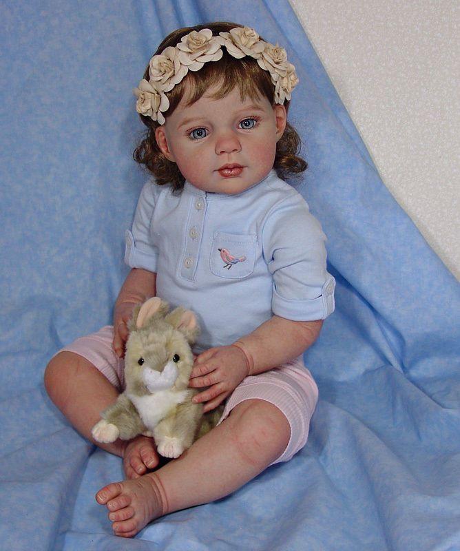 "Reborn Toddler Louisa lifelike vinyl 26"" baby girl doll Kendra's Garden Babies #JanineDeLange"
