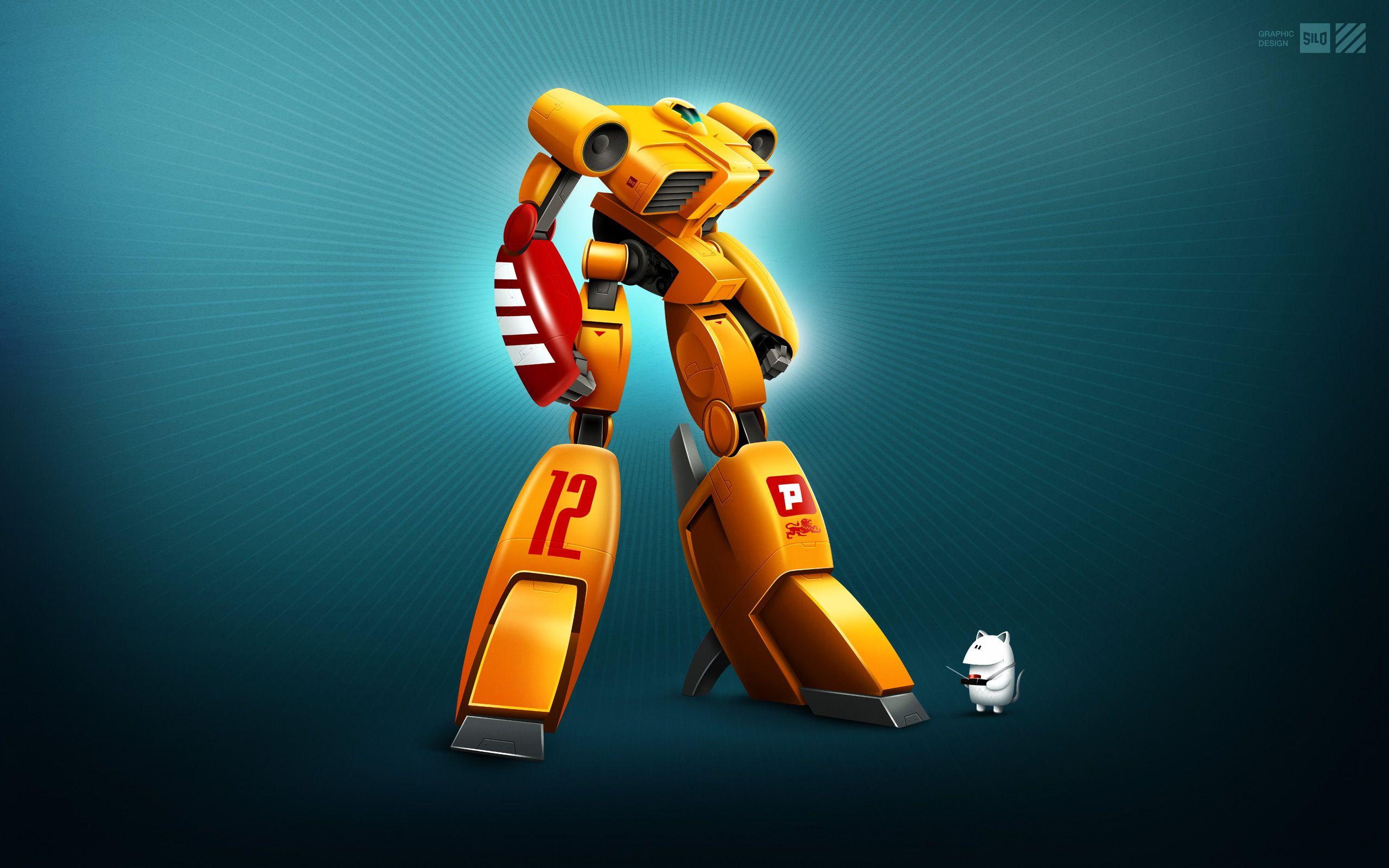 Yellow Robot Hd Wallpaper For Desktop Robot Background Hd Backgrounds Robot