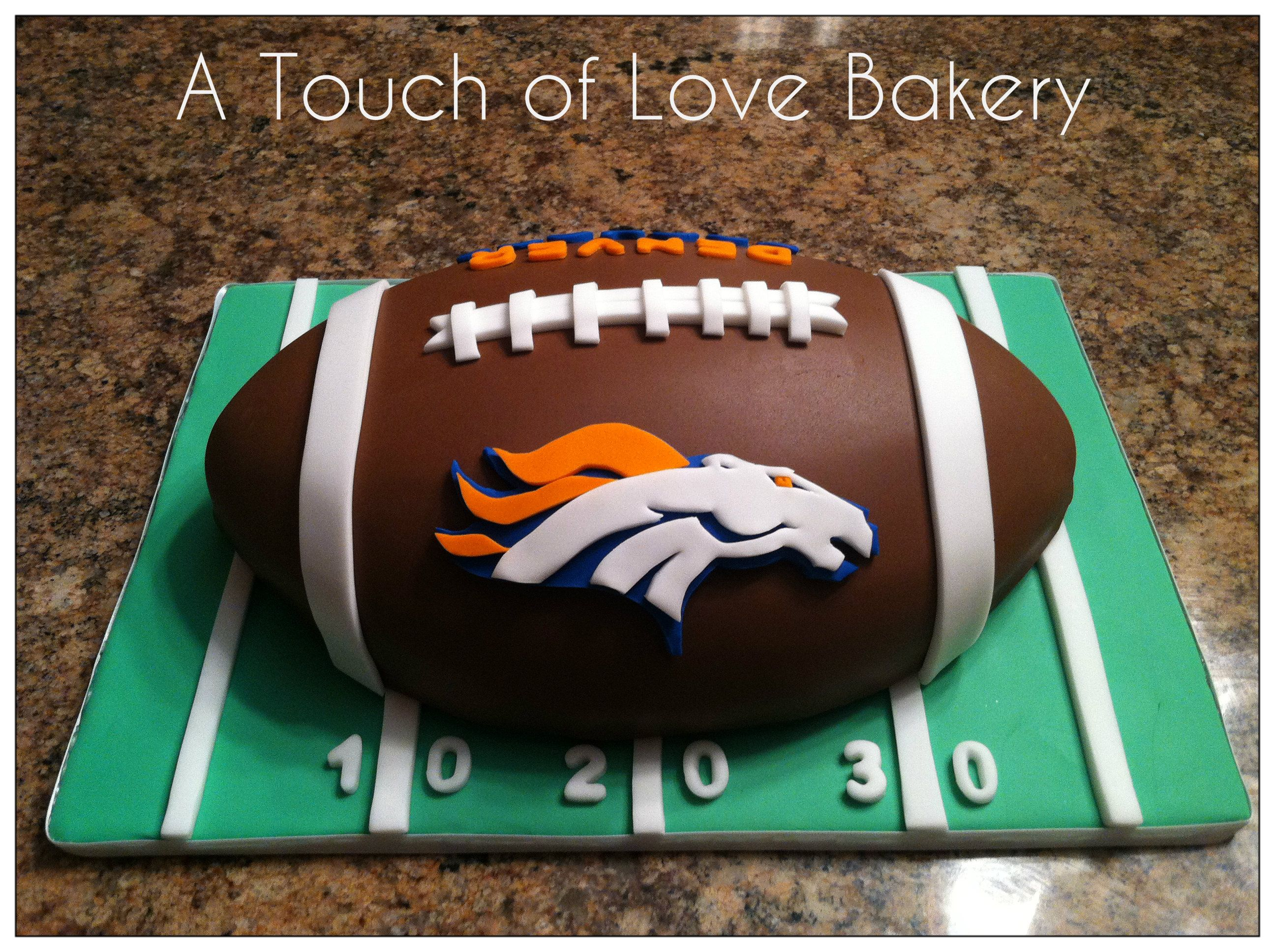 Cakes by Kirsten Denver broncos cake football cake denver