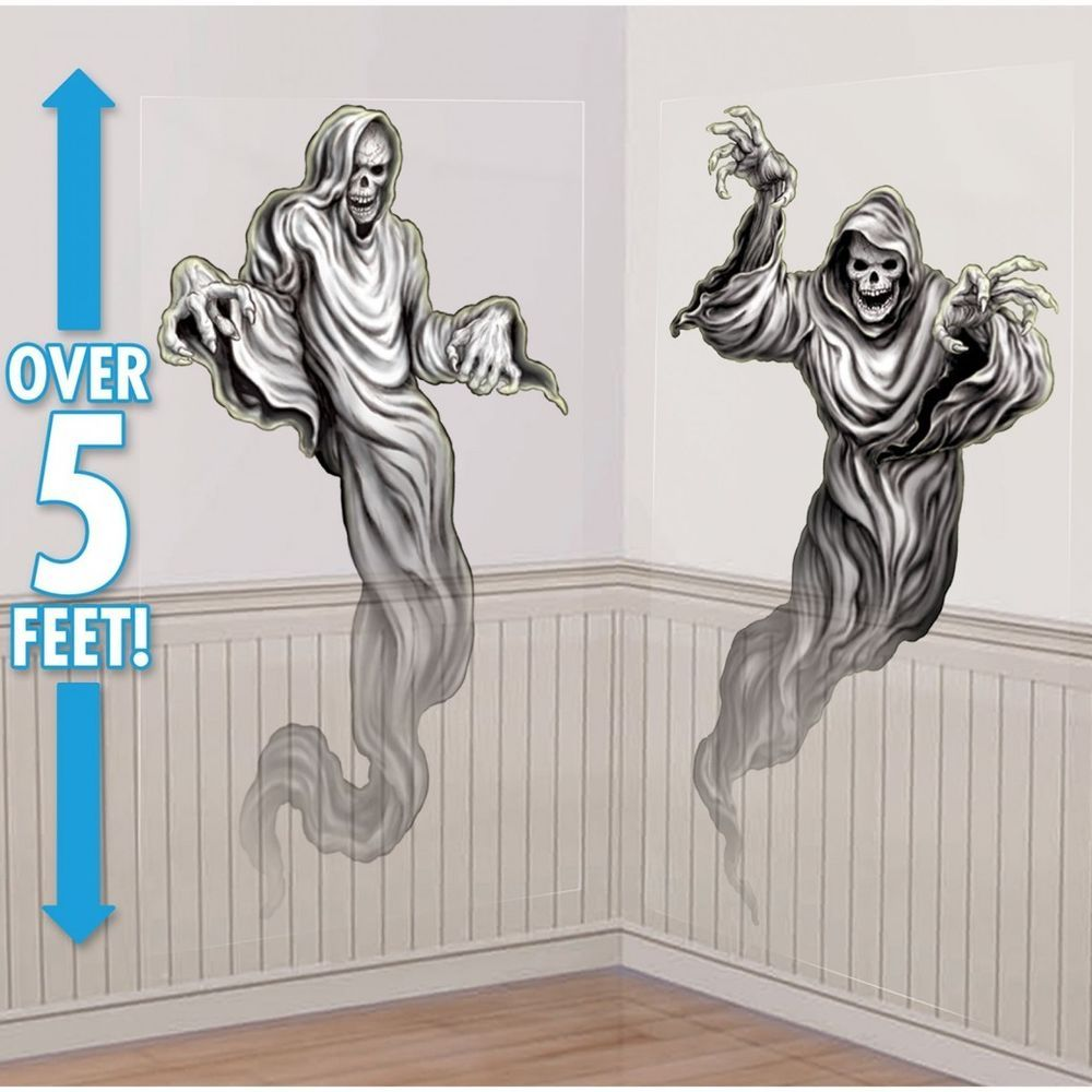 halloween party gothic haunted mansion ghosts wall scene setter room decoration