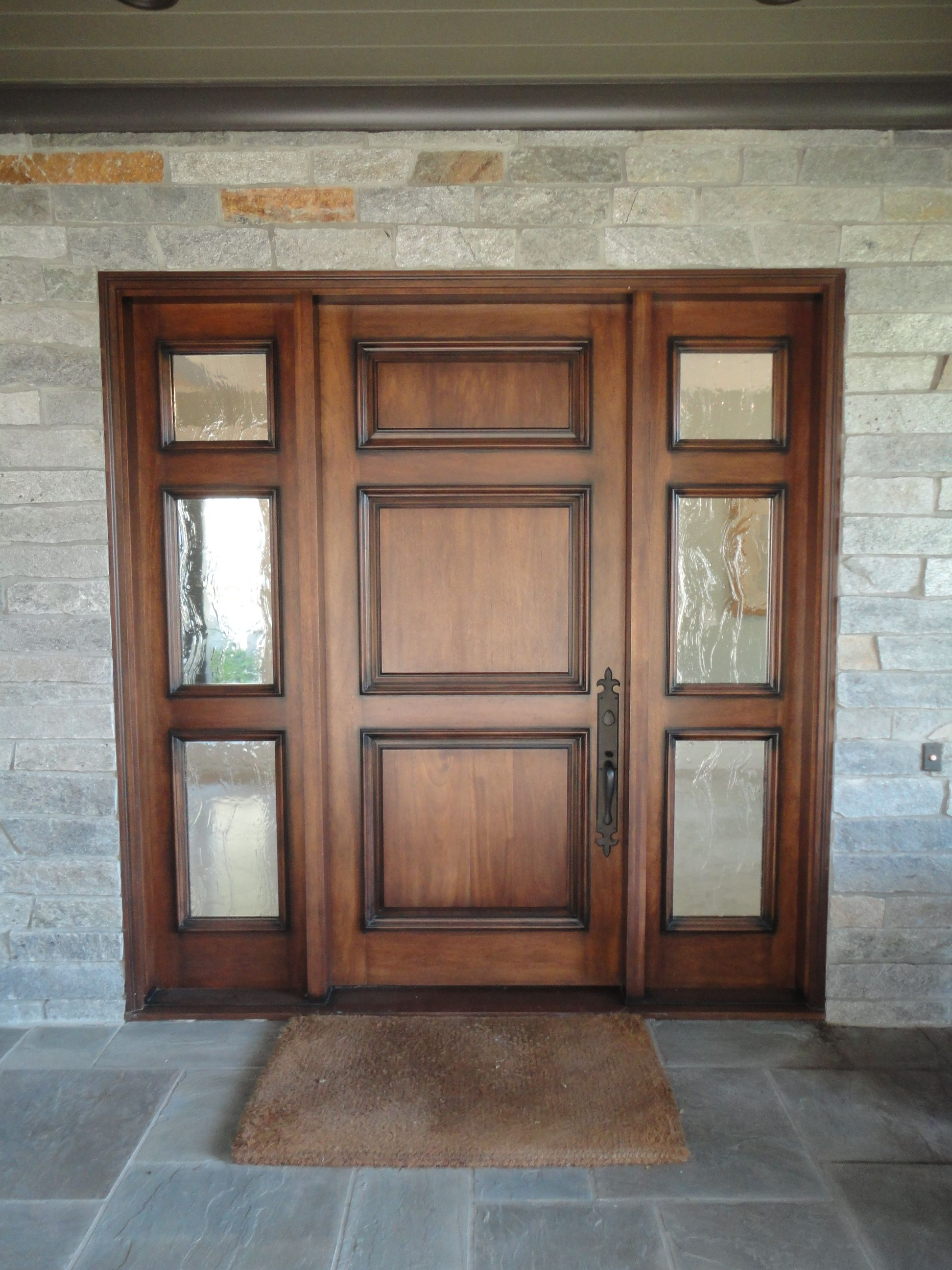 Modern entry doors with sidelights - 3 Panel Entry Door With 2 3 Light Sidelights With Seedy Reemy Glass Antiguadoors