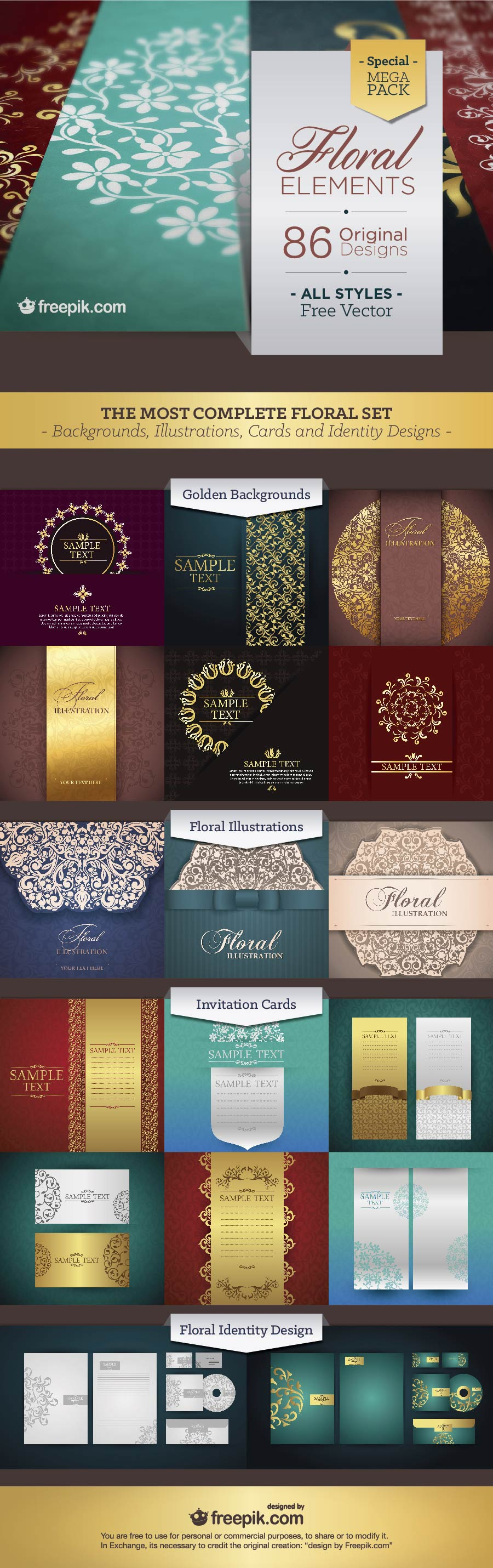 Free Floral Elements Mega Pack Invitation Card Sample Free Floral