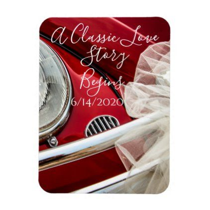 A classic car love story save the date magnet | Zazzle.com