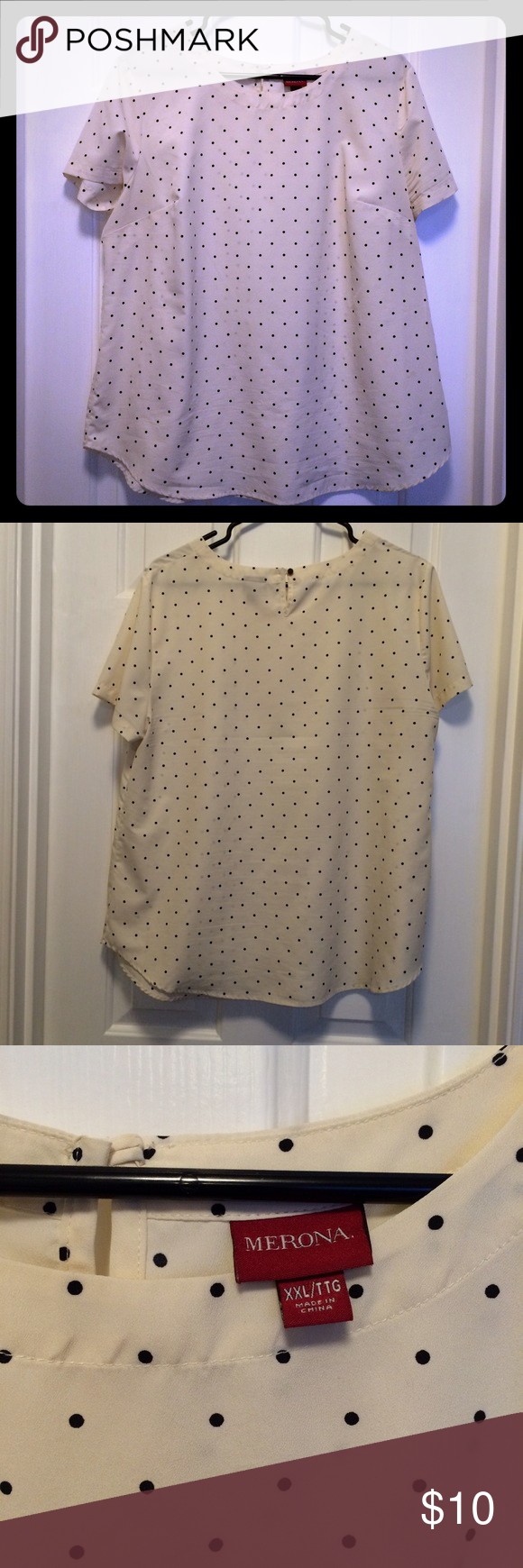 Merona Polka Dot Blouse Cream and Black Size XXL This top is in excellent condition. I think it fits a little tight in the shoulders, but it's an XXL. Fits size XL or 14-16. It's slightly off-white (intentionally, not discolored), kind of cream, with black small polka dots. Merona Tops Blouses