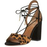 Aquazzura Austin Calf-Hair Lace-Up Sandal